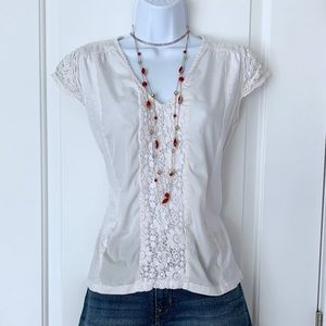 Anthropologie white cap-sleeved lace-inset top